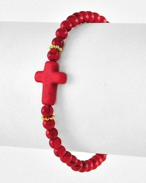 Inspirational Beaded Cross Bracelet - Red