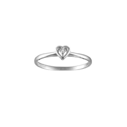 Single Stone Brilliant Cut Diamond Ring in a Heart Shape Design in 9ct White Gold Finger