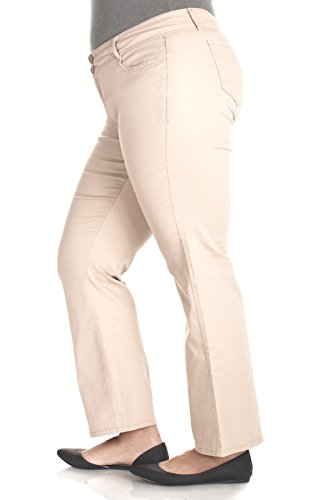 Simple Plus Size Long Inseam Luscious Curvy Bootcut Chino Pants In Khaki