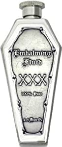 """Embalming Fluid XXX"" Pewter Emblem Coffin Flask Mirror Finish"