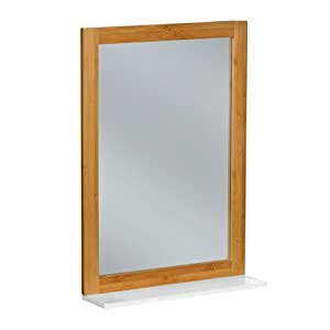 Wall Mirror Bamboo Wood Frame With Mdf White Finish Shelf For Bathroom Home