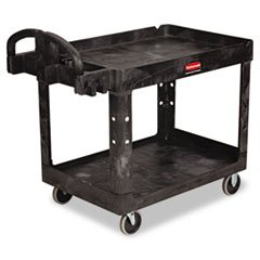 Rubbermaid Commercial Structural Resin Service Cart with Lipped Shelves, 2 Shelves, Black, 500 lbs Capacity, 33-1/3
