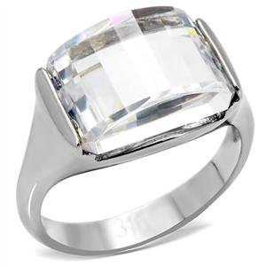 STAINLESS STEEL RING- Dome Style Cubic Zirconia Right Hand Ring