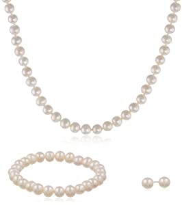 Mother and Daughter White Freshwater Pearl Necklaces, Bracelet, and Stud Earrings Set