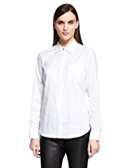 Autograph Cotton Rich Jacquard Trim No Peep™ Shirt