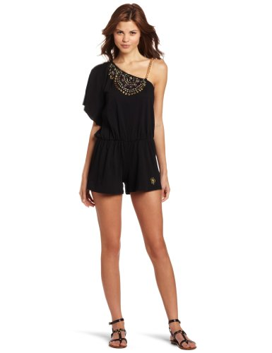 Southpole Juniors One Shoulder Chain Accent Jeweled Neckline Romper