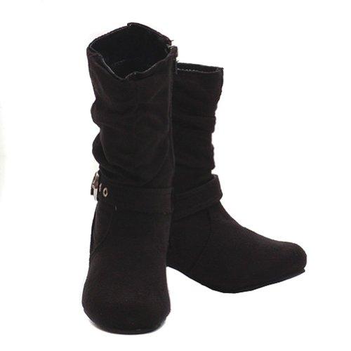 Modit Toddler Girls 5 Black Faux Suede Zipper Kitten Heel Boot