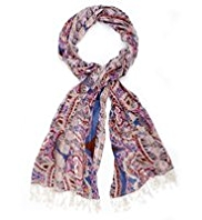 Indigo Collection Lightweight Paisley Floral Scarf