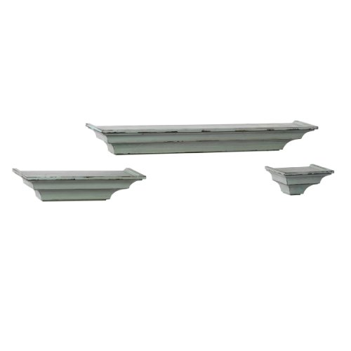 Melannco Rubbed Shelves (Green, Set of 3)