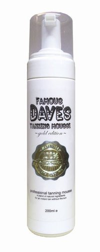 Famous Dave's Dark Tanning Mousse Gold Edition 200ml - Dark Luxury Self Tan / Fake Tanner / Sunless Tanning Foam, Fragrance-Free & Paraben-Free, not tested on animals.