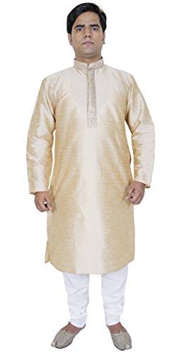 Moda abbigliamento Kurta pigiama da uomo per il matrimonio abiti etnici Beige Taglia M