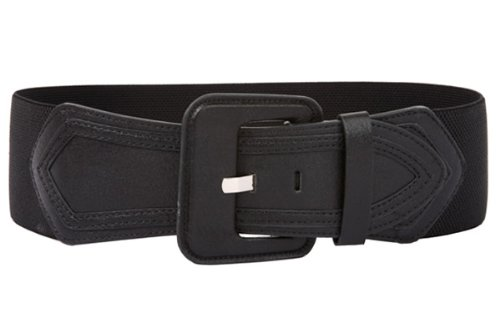 Ladies High Waist Fashion Stretch Belt with Tab Detailing Color: Black Size: M/M - 30~34
