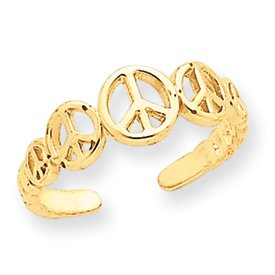 14k Yellow Gold Graduated Peace Sign Toe Ring in Gift Box