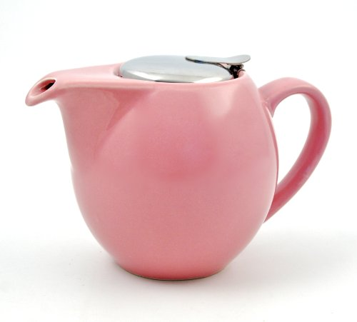 Ceramic 3-Cup Clipper Teapot With Stainless Steel Nesting Infuser Strainer And Flip-Top Lid (Sierra Rose)