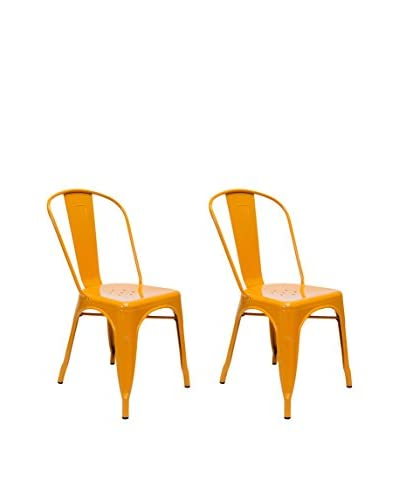 Aeon Euro Home Collection Set of 2 Garvin-1 Chairs, Orange