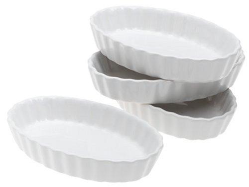 BonJour Chef's Tools Porcelain Crème Brûlée Ramekin Set, 4-Piece, White
