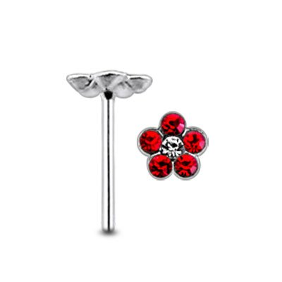 Red Gem Flower Center klar Gem Sterlingsilber gerade Nase PIN