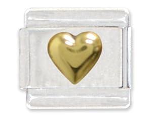 Gold Heart Italian Charm Bracelet Link