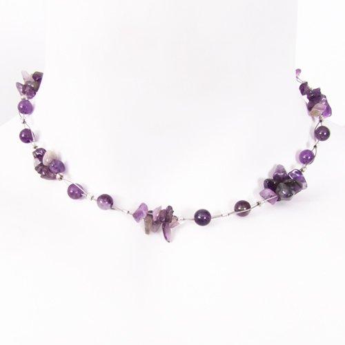 Amethyst Gemstone Chip Necklace Purple 16''-19''