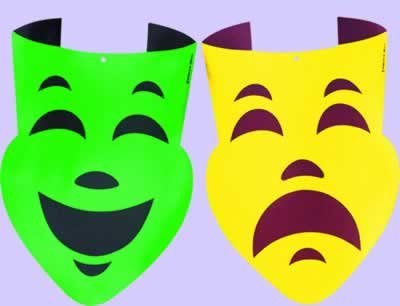 Foil Comedy & Tragedy Faces (asstd gold & green) Party Accessory  (1 count)