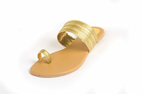 Route Flat Heel Ladies Synthetic Chappals Fitted With Beads And Stones - [YH-H-C-007]