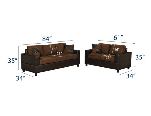 Buy Low Price Poundex Bobkona Seattle Microfiber Sofa and Loveseat 2-Piece Set in Chocolate Color (VF_F7591)