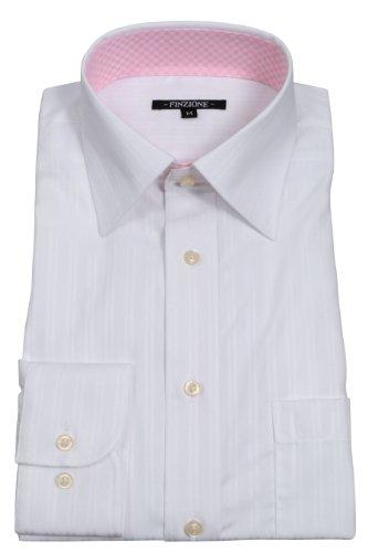 (オジエ) ozie 〔00002018〕【ワイシャツ・カッターシャツ】レギュラーフィット・形態安定・綿100%・ワイドカラー・織柄無地ドビーストライプ・ホワイト白・2wayデザインシャツ・5927-04-W-31