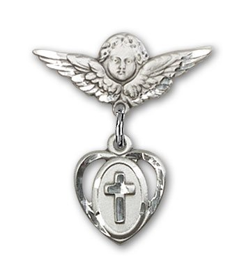 Sterling Silver Baby Badge with Cross Charm and Angel w/Wings Badge Pin