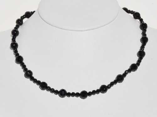 14k Yellow Gold Black Onyx Beaded Necklace, 17