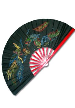 Black Bamboo Fan w/dragon & phoenix design