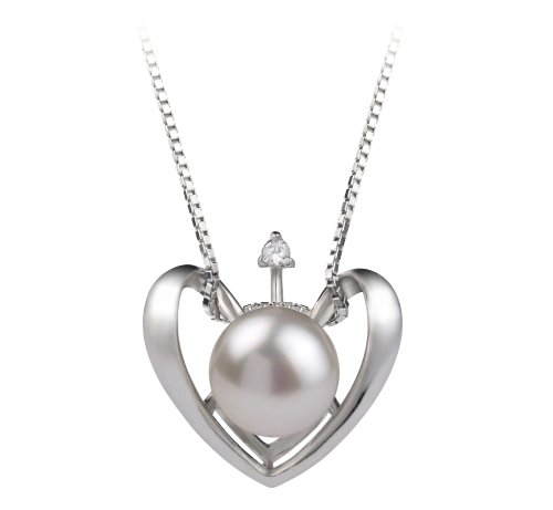 Pearlsonly Heart White 9.0-9.5Mm Aa Freshwater Sterling Silver Cultured Pearl Pendant