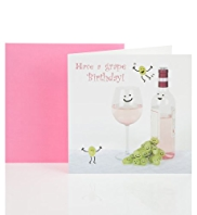 Smiling Wine Birthday Card