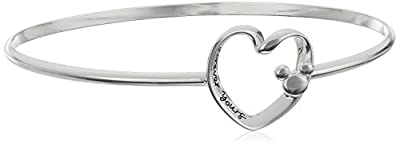 "Disney Sterling Silver Catch ""Forever Yours"" with Mickey Bangle Bracelet"
