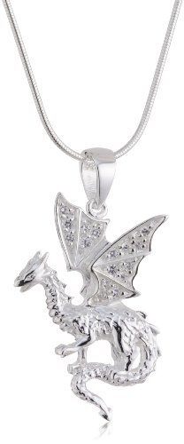 VINANI German 925 Sterling Silver Women Pendant Dragon with white Zirconia & Snake Chain Necklace 20″ ADW-S50
