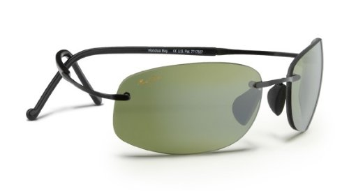 Maui Jim HT516-02 Black Honolua Bay Rimless Sunglasses Polarised Sailing, Fishing, Lens Category 3