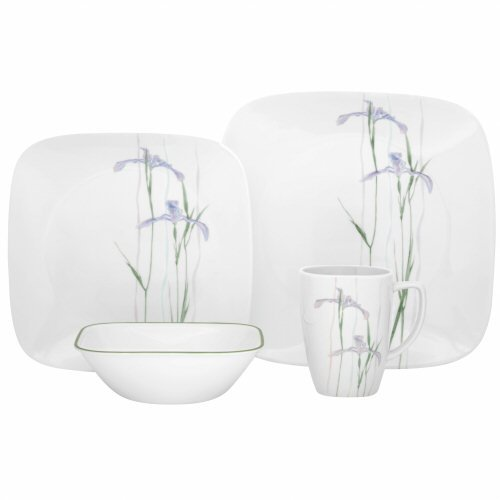 Corelle Shadow Iris Square 16pc Dinner Set