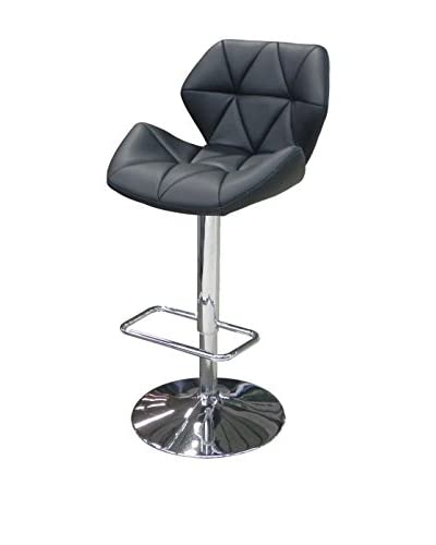 Whiteline Aaron Faux Leather Barstool, Black
