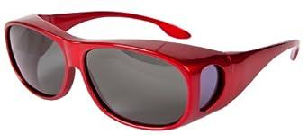 OPTICAID POLARISED SPORTS OVER GLASSES / SUNGLASSES DESIGNED TO BE WORN OVER PRESCRIPTION GLASSES DARK RED