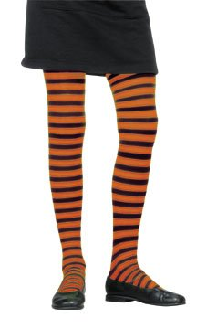 Child's Girl's Black & Orange Striped Costume Tights