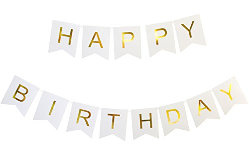 Keira-Prince-Happy-Birthday-Banner-Chic-White-and-Gold-Party-Decorations-Versatile-Beautiful-Swallowtail-Bunting-Flag-garland