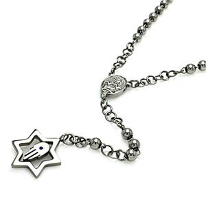 "Stainless Steel Star of David w/ Hamsa Rosary Necklace (Bead: 6mm)(24"")"