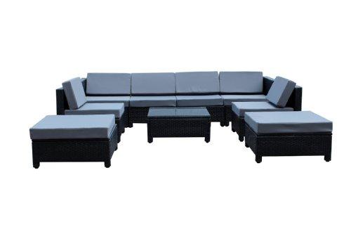 9 Pcs Luxury Wicker Patio Sectional Indoor Outdoor Sofa Furniture Set - Grey Cushion