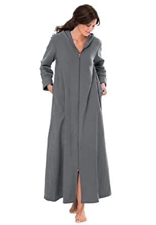 Dreams And Company Women's Plus Size Hooded Fleece Knit Long Robe (Heather