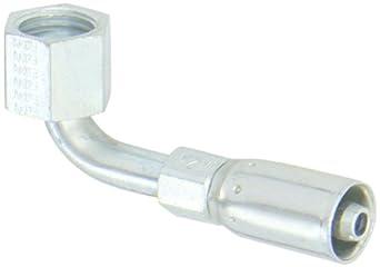 """EATON Weatherhead Coll-O-Crimp 04E-A24 90 Degree Female Swivel Short Drop Tube Elbow Fitting, AISI/SAE 12L14 Carbon Steel, 1/4"""" Hose ID, 1/4"""" Tube Size"""