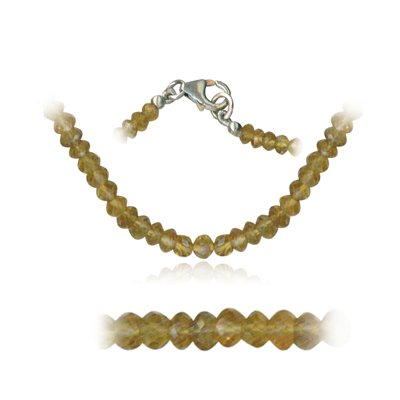 52.00 Cts Faceted Citrine Bead Necklace in Sterling Silver
