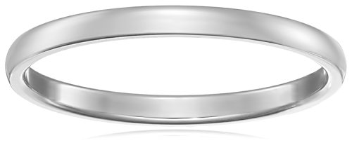 Classic Fit 14K White Gold Band, 2mm, Size 4.5