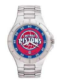 Detroit Pistons Mens Pro Ii Sterling Silver Bracelet Watch by Logo Art
