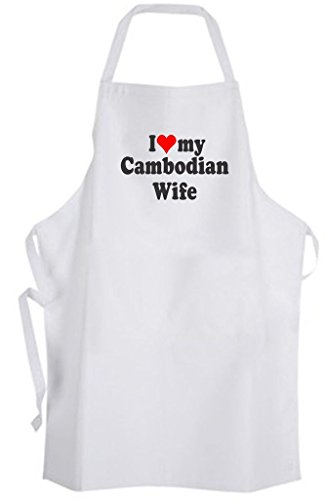 I Love my Cambodian Wife - Adult Size Apron Husband Marriage Wedding (Cambodian Bbq compare prices)
