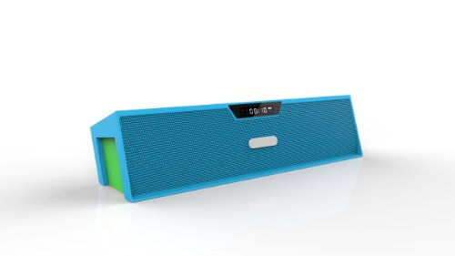Expower Bookshelf Furnishings / Computer Desk / Home Wireless Bluetooth Speaker (Microphone, Fm Radio, Alarm Clock, Aux Input) (Blue+Green)