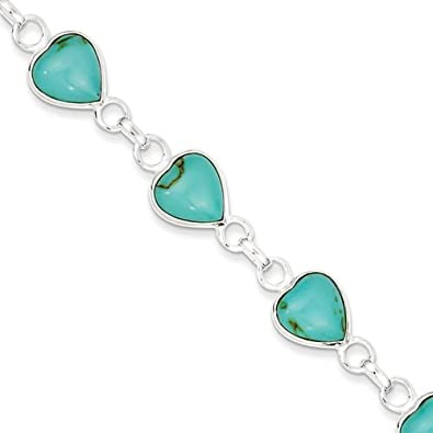 Sterling Silver Polished Heart-shaped Turquoise Bracelet